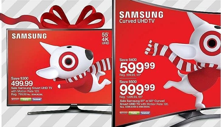 """Target Weekly Ad: Samsung 55"""" Curved Smart UHD 4K 120 Motion Rate TV for $599.99"""