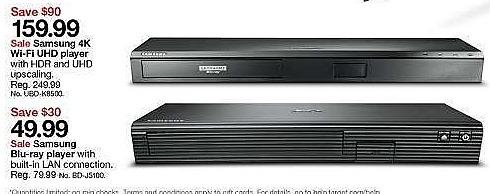 Target Weekly Ad: Samsung UBD-K8500 4K Blu-ray Player - Black for $159.99