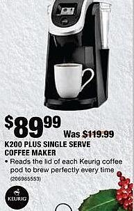 Home Depot Black Friday: Keurig Plus Single Serve Coffee Maker for $89.99