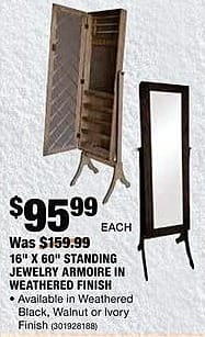 """Home Depot Black Friday: Charlotte 16"""" x 60"""" Standing Jewelry Armoire In Weathered Finish for $95.99"""