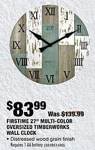 "Home Depot Black Friday: Firstime 27"" Multi-Color Oversized Timberworks Wall Clock for $83.99"