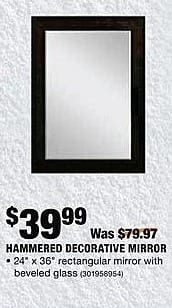 Home Depot Black Friday: Hammered Decorative Mirror for $39.99