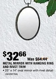 Home Depot Black Friday: Metal Mirror w/Hanging Ring and Rivet Trim for $32.66