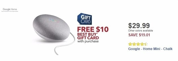 Best Buy Weekly Ad: Google - Home Mini - Chalk for $29.99