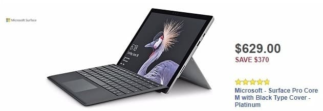 Best Buy Weekly Ad: Microsoft - Surface Pro Core M with Black Type Cover - Platinum for $629.00