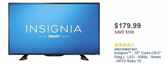 "Best Buy Weekly Ad: Insignia - 39"" Class - LED  - Smart - HDTV Roku TV for $179.99"