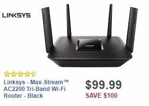 Best Buy Weekly Ad: Linksys - Max-Stream™ AC2200 Tri-Band Wi-Fi Router - Black for $99.99