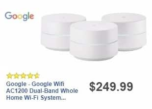 Best Buy Weekly Ad: Google - Google Wifi AC1200 Dual-Band Whole Home Wi-Fi System (3-Pack) - White for $249.99