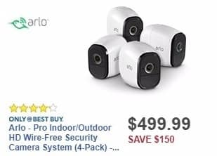 Best Buy Weekly Ad: Arlo - Pro Indoor/Outdoor HD Wire-Free Security Camera System (4-Pack) - White for $499.99