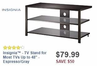"""Best Buy Weekly Ad: Insignia - TV Stand for Most TVs Up to 48"""" - Espresso/Gray for $79.99"""
