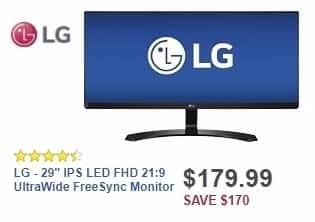 "Best Buy Weekly Ad: LG - 29"" IPS LED FHD 21:9 UltraWide FreeSync Monitor for $179.99"
