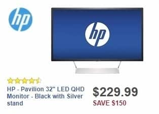 """Best Buy Weekly Ad: HP - Pavilion 32"""" LED QHD Monitor - Black with Silver stand for $229.99"""
