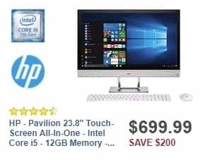 "Best Buy Weekly Ad: HP - Pavilion 23.8"" Touch-Screen All-In-One - Intel Core i5 - 12GB Memory - 2TB Hard Drive - HP finish in blizzard white for $699.99"