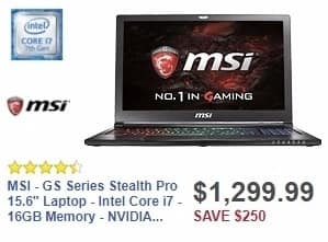 """Best Buy Weekly Ad: MSI - GS Series Stealth Pro 15.6"""" Laptop - Intel Core i7 - 16GB Memory - NVIDIA GeForce GTX 1060 - 1TB HDD + 256GB SSD - Aluminum black for $1,299.99"""