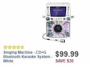 Best Buy Weekly Ad: Singing Machine - CD+G Bluetooth Karaoke System - White for $99.99