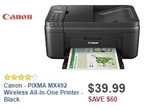 Best Buy Weekly Ad: Canon - PIXMA MX492 Wireless All-In-One Printer - Black for $39.99