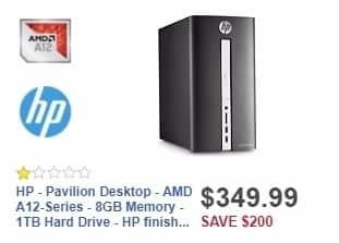 Best Buy Weekly Ad: HP - Pavilion Desktop - AMD A12-Series - 8GB Memory - 1TB Hard Drive - HP finish in twinkle black for $349.99