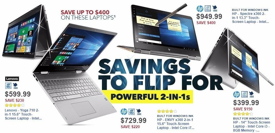"Best Buy Weekly Ad: HP - ENVY x360 2-in-1 15.6"" Touch-Screen Laptop - Intel Core i7 - 16GB Memory - 1TB Hard Drive - Natural Silver for $729.99"