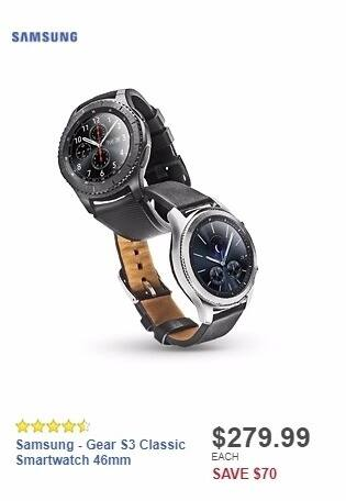 Best Buy Weekly Ad: Samsung - Gear S3 Classic Smartwatch 46mm for $279.99