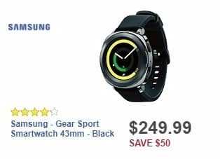 Best Buy Weekly Ad: Samsung - Gear Sport Smartwatch 43mm - Black for $249.99