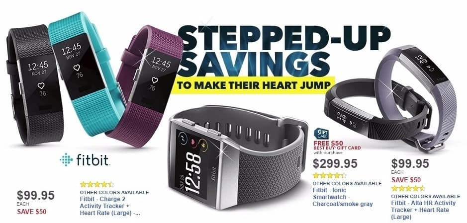 Best Buy Weekly Ad: Fitbit - Ionic Smartwatch - Charcoal/smoke gray for $299.95