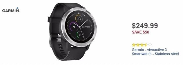 Best Buy Weekly Ad: Garmin - vívoactive 3 Smartwatch - Stainless steel for $249.99