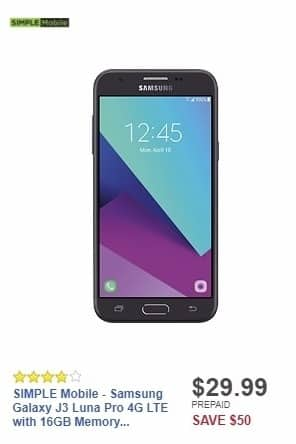 Best Buy Weekly Ad: SIMPLE Mobile - Samsung Galaxy J3 Luna Pro 4G LTE with 16GB Memory Prepaid Cell Phone - Black for $29.99