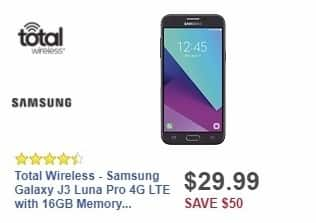 Best Buy Weekly Ad: Total Wireless - Samsung Galaxy J3 Luna Pro 4G LTE with 16GB Memory Prepaid Cell Phone - Black for $29.99