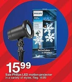 Target Weekly Ad: Philips Christmas Cool White LED Snowflake Motion Projector for $15.99