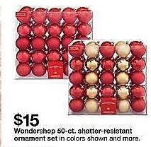 Target Weekly Ad: 50ct 70mm Red Christmas Ornament Set - Wondershop for $15.00