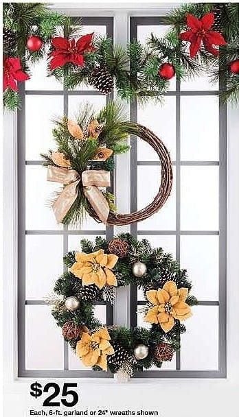 Target Weekly Ad: 6ft Unlit Red Poinsettia and Ornaments Artificial Pine Christmas Garland - Wondershop for $25.00