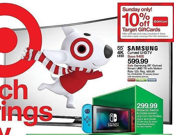 """Target Weekly Ad: Samsung 55"""" Curved Smart UHD 4K 120 Motion Rate TV - 55MU6490 for $599.99"""