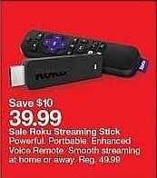 Target Weekly Ad: Roku Streaming Stick - Black for $39.99