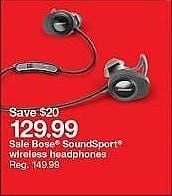 Target Weekly Ad: Bose SoundSport Wireless Headphones for $129.99