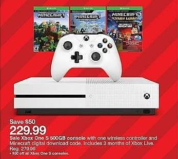 Target Weekly Ad: Xbox One S 500GB Minecraft Complete Adventure Bundle for $229.99