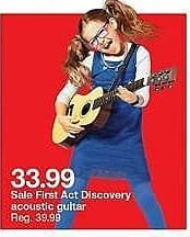 Target Weekly Ad: First Act Discovery Natural Acoustic Guitar for $33.99