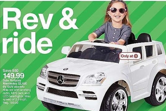 Target Weekly Ad: Rollplay Kids' Ride On 6V Mercedes Benz GL450 SUV - White for $149.99
