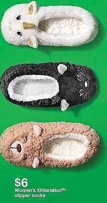 Target Weekly Ad: Women's Animal Slipper Sock - Xhilaration Cat for $6.00