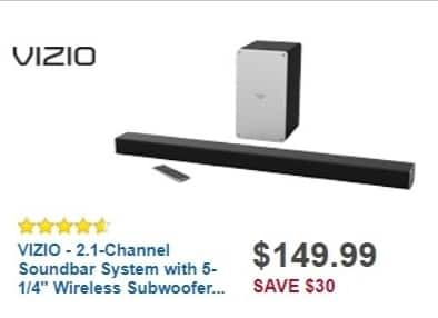Best Buy Weekly Ad: VIZIO 2.1-Ch. Soundbar System with Wireless Subwoofer and Digital Amplifier for $149.99