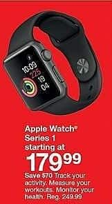 Target Weekly Ad: Apple Watch Series 1 38mm Aluminum Case Sport Band for $179.99