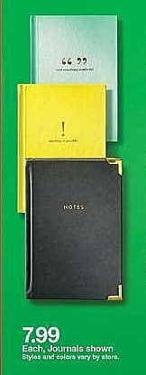 Target Weekly Ad: Eccolo Lined Journal Hardcover w/ Gold Corners for $7.99