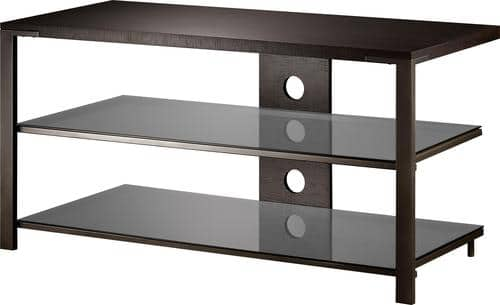 "Best Buy Weekly Ad: Insignia - Wood Metal Glass Stand for TVs up to 48"" for $99.99"
