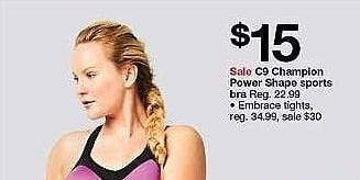 Target Weekly Ad: Women's Power Shape MAX Support Racerback Sports Bra - C9 Champion for $15.00