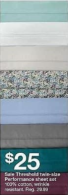 Target Weekly Ad: Performance Sheet Set Solids 400 Thread Count - Threshold for $25.00