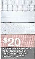 Target Weekly Ad: Organic Cotton Printed Sheet Set 300 Thread Count - Threshold for $20.00