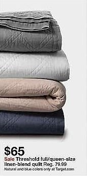 Target Weekly Ad: Linen Blend Quilt - Threshold for $65.00