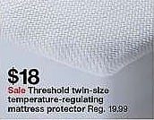 Target Weekly Ad: Temperature Regulating Mattress Protector - Threshold for $17.99