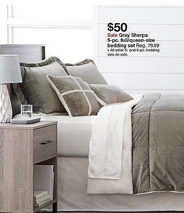 Target Weekly Ad: Solid Velvet/Sherpa Comforter Set 5pc - Grey for $50.00