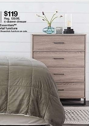 Target Weekly Ad: Mixed Material 4 Drawer Dresser Medium Brown - Room Essentials for $119.00