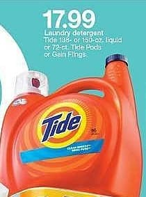 Target Weekly Ad: Tide 2X Botanical Rain HE Liquid Laundry Detergent, 72 Load, 138 Fl oz for $17.99